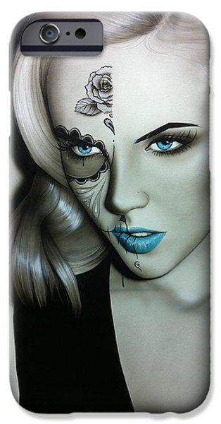Lips iPhone Cases - Silver Soul iPhone Case by Christian Chapman Art