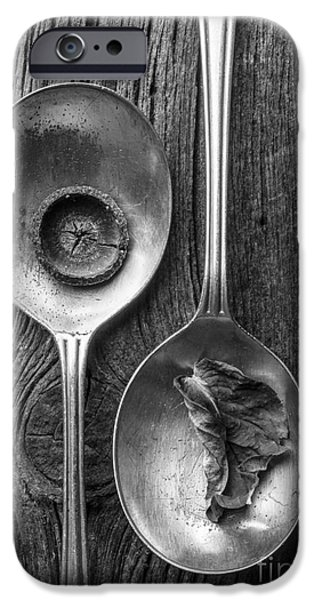 Silver Spoons Black and White iPhone Case by Edward Fielding