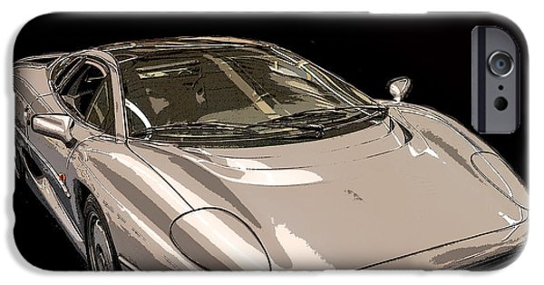 Indy Car Photographs iPhone Cases - Silver Sports Car iPhone Case by Edward Fielding