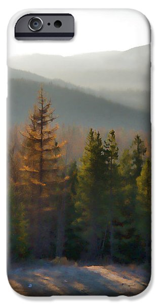 Pines iPhone Cases - Silver Star Early Morning Sun Watercolor iPhone Case by Allan Van Gasbeck