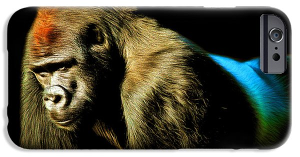 Ape Digital Art iPhone Cases - Silverback 20150210brun iPhone Case by Wingsdomain Art and Photography