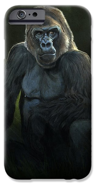 Ape Digital Art iPhone Cases - Silverback iPhone Case by Aaron Blaise