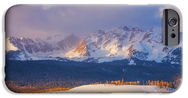 Snow Scene iPhone Cases - Silverthorne Sunrise iPhone Case by Darren  White