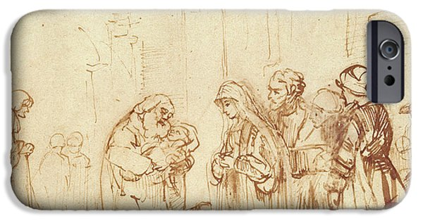 Jesus Drawings iPhone Cases - Simeon and Jesus in the Temple iPhone Case by Rembrandt Harmenszoon van Rijn