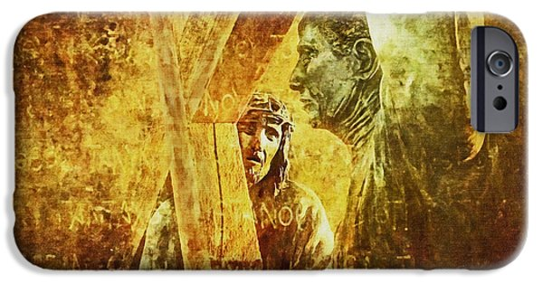 Lianne_schneider Via Dolorosa Print Digital iPhone Cases - Simon Helps Jesus Via Dolorosa 5 iPhone Case by Lianne Schneider