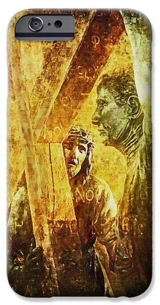 Simon Helps Jesus Via Dolorosa 5 iPhone Case by Lianne Schneider