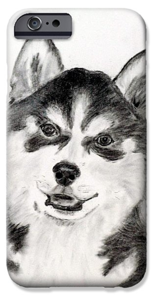 Husky Drawings iPhone Cases - Simon iPhone Case by Jane Baribeau
