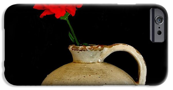 Wrap Digital Art iPhone Cases - Simple Carnation in Pottery iPhone Case by Marsha Heiken