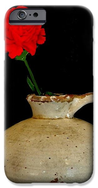 Simple Carnation in Pottery iPhone Case by Marsha Heiken