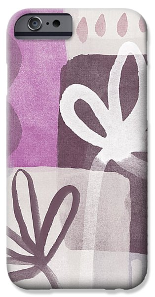 Simple Flowers- contemporary painting iPhone Case by Linda Woods