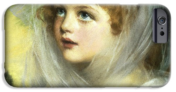 Lips iPhone Cases - Simplicity And Innocence, 1900 Pastel iPhone Case by John Ernest Breun