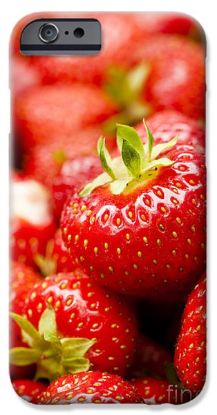 Mounds iPhone Cases - Simply Strawberries iPhone Case by Anne Gilbert