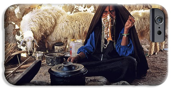 Bedouin iPhone Cases - Sinai Bedouin Woman in her Kitchen iPhone Case by Heiko Koehrer-Wagner