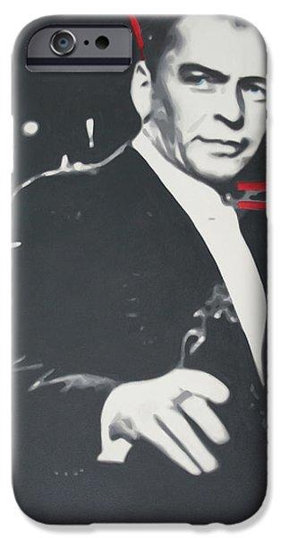 Ludzska Paintings iPhone Cases - Sinatra 2013 iPhone Case by Luis Ludzska