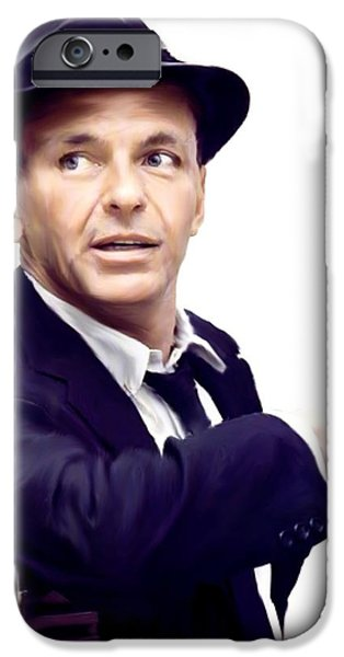 Music Drawings iPhone Cases - Sinatra VII  Frank  Sinatra iPhone Case by Iconic Images Art Gallery David Pucciarelli