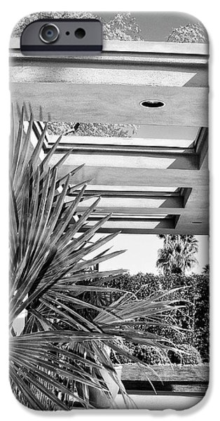 Frank Sinatra Paintings iPhone Cases - SINATRA PATIO BW Palm Springs iPhone Case by William Dey