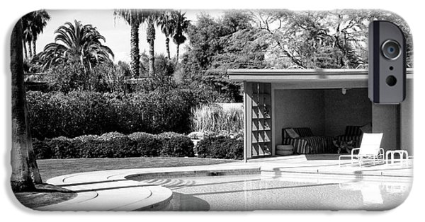 Old Blue Eyes iPhone Cases - SINATRA POOL AND CABANA BW Palm Springs iPhone Case by William Dey