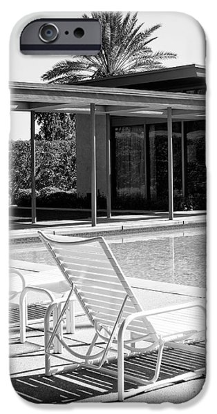 Modernism iPhone Cases - SINATRA POOL BW Palm Springs iPhone Case by William Dey