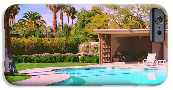 Green Lawns iPhone Cases - SINATRA POOL CABANA Palm Springs iPhone Case by William Dey