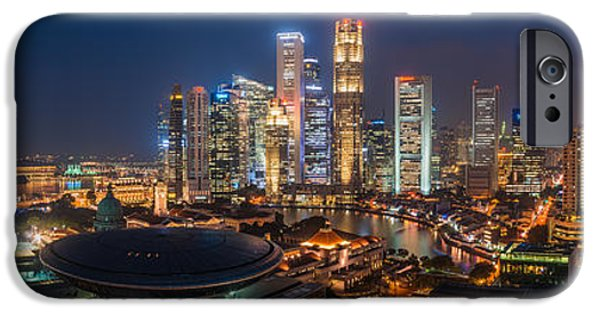 Skyline Pyrography iPhone Cases - Singapore - Skyline Panorama iPhone Case by Jean Claude Castor