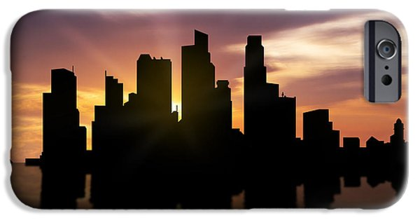 Buildings Mixed Media iPhone Cases - Singapore City Sunset Skyline  iPhone Case by Aged Pixel