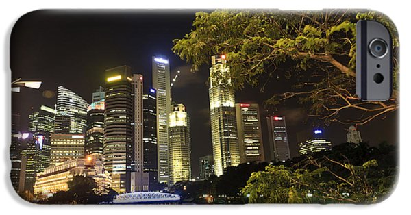 Meadow Photographs iPhone Cases - Singapore night iPhone Case by Henry MM