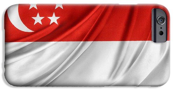 Patriotism iPhone Cases - Singaporean flag iPhone Case by Les Cunliffe