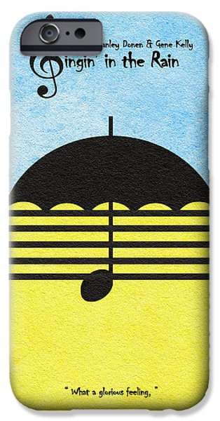 Umbrella Mixed Media iPhone Cases - Singin in the Rain iPhone Case by Ayse Deniz