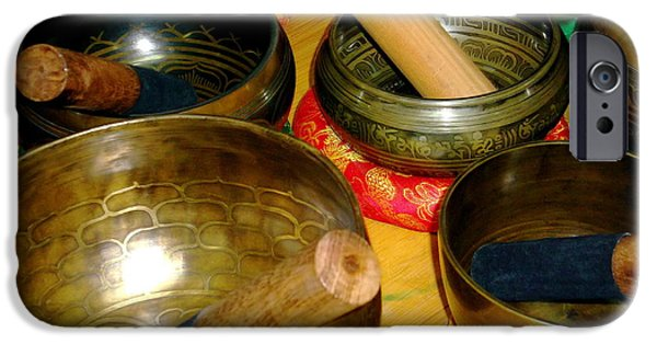 Tibetan Buddhism iPhone Cases - Singing Bowls iPhone Case by Claire McGee