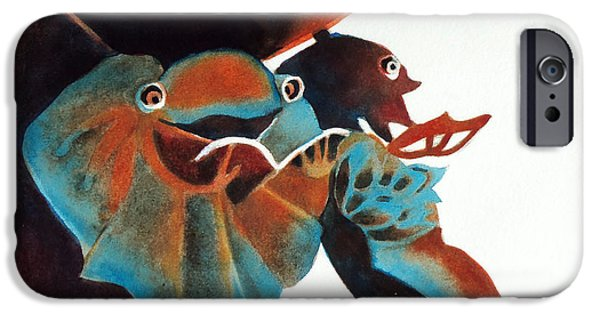 Snake iPhone Cases - Singing Frog Duet 2 iPhone Case by Kathy Braud
