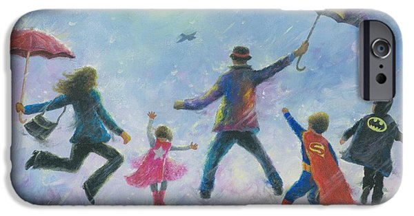 Supergirl iPhone Cases - Singing in the Rain Super Hero Kids iPhone Case by Vickie Wade
