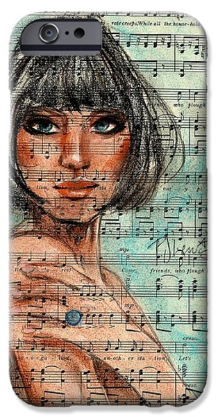 Sheets Drawings iPhone Cases - Singing The Blues iPhone Case by P J Lewis