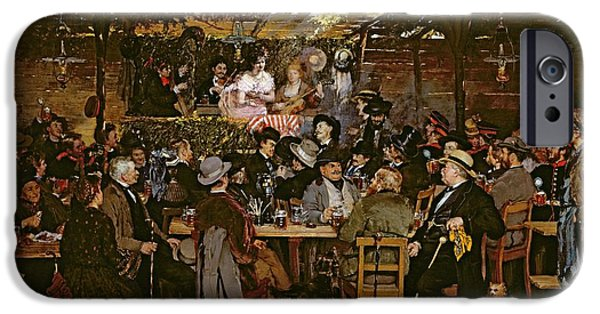 Shed iPhone Cases - Singing To A Captive Crowd Oil On Canvas iPhone Case by Otto Piltz
