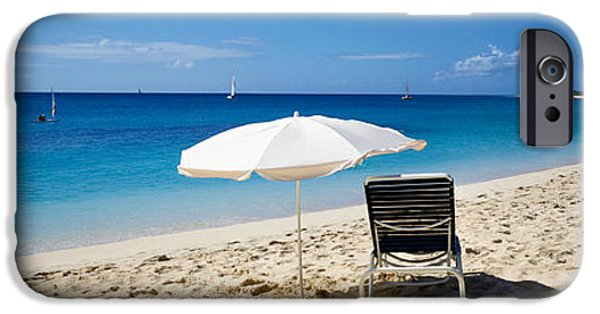 Sailboat Ocean iPhone Cases - Single Beach Chair And Umbrella On iPhone Case by Panoramic Images