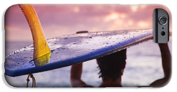Sunset Framed Prints iPhone Cases - Single Fin Surfer iPhone Case by Sean Davey