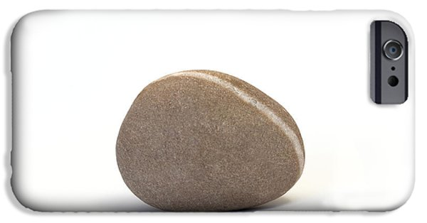 Nature Study iPhone Cases - Single Pebble against White Background iPhone Case by Natalie Kinnear
