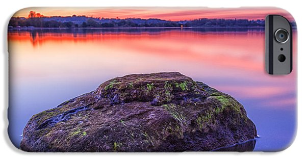 Colour Image iPhone Cases - Single Rock In The Loch iPhone Case by John Farnan