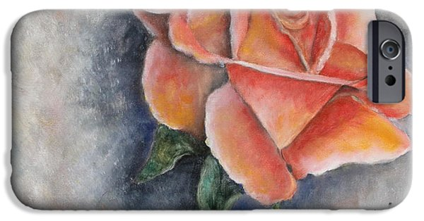Botanical Pastels iPhone Cases - Single Rose in Oil iPhone Case by Cathy Lindsey