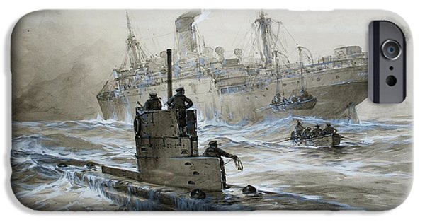 Wwi iPhone Cases - Sinking of the Linda Blanche out of Liverpool iPhone Case by Willy Stoewer