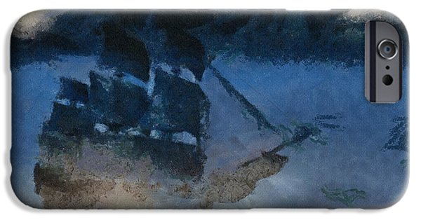 Creative Drawings iPhone Cases - Sinking Sailer iPhone Case by Ayse Deniz