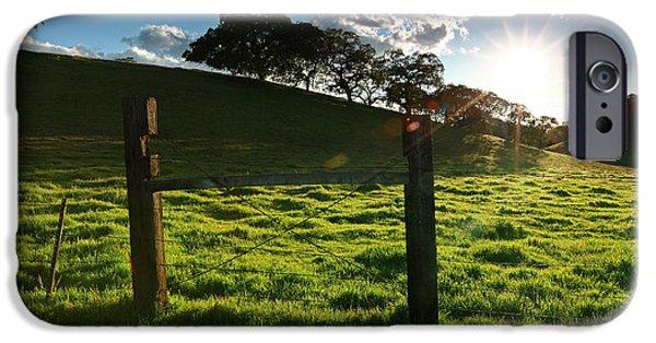 Oak Creek iPhone Cases - Sinking sun meadow shadows Walnut Creek California 2014 iPhone Case by Benjamin Race - Arc of Light Photography