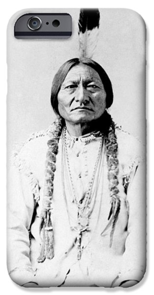 Landmarks Photographs iPhone Cases - Sioux Chief Sitting Bull iPhone Case by War Is Hell Store