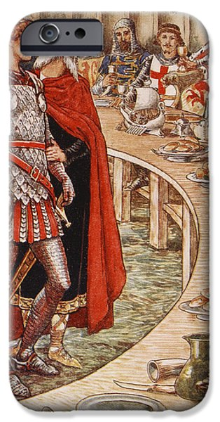 Pentecost iPhone Cases - Sir Galahad is brought to the Court of King Arthur iPhone Case by Walter Crane