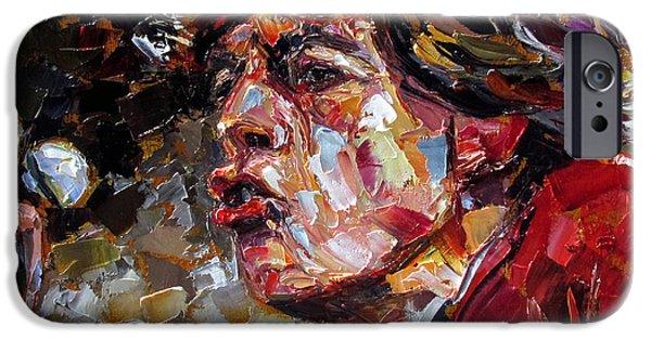 Mick Jagger Paintings iPhone Cases - Sir Michael Philip Jagger  iPhone Case by Debra Hurd
