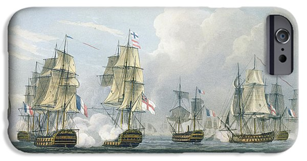 Boat iPhone Cases - Sir Richard Strachans Action after the Battle of Trafalgar iPhone Case by Thomas Whitcombe