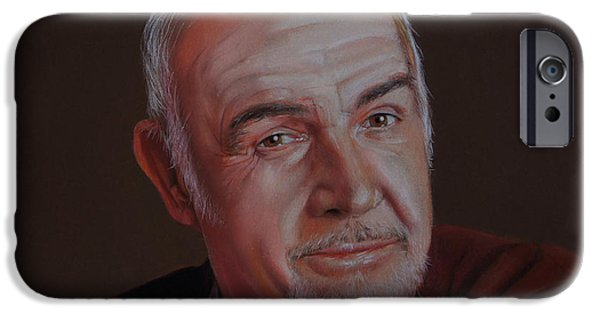 Red Rock Drawings iPhone Cases - Sir Sean Connery iPhone Case by Isabel Salvador