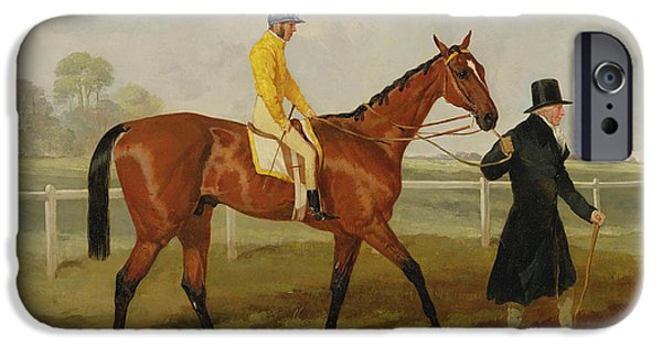 Racing Paintings iPhone Cases - Sir Tatton Sykes Leading in the Horse Sir Tatton Sykes with William Scott Up iPhone Case by Harry Hall