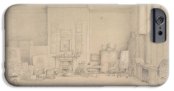 Artist Photographs iPhone Cases - Sir Thomas Lawrences Studio; 65 Russell Square, London, 1824 Pencil, Heightened With Touches iPhone Case by Emily Calmady