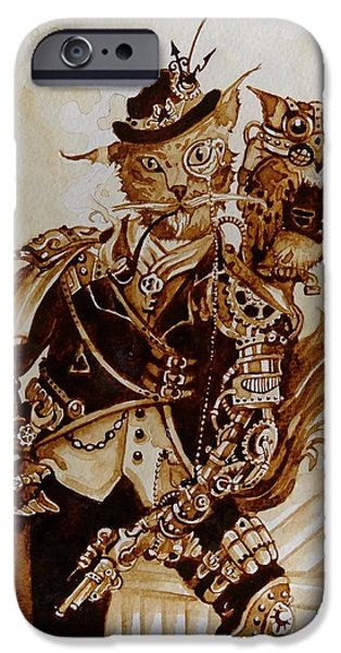 Bio-mechanical iPhone Cases - Sir Whiskerfur and Lieutenant Colonel Beaker iPhone Case by Tammie Wales
