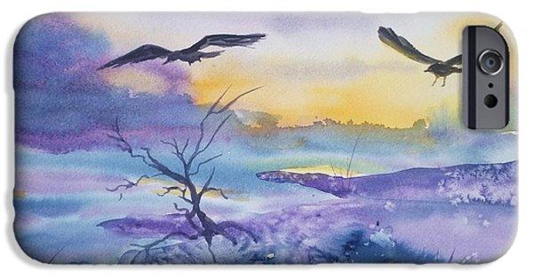 Crows iPhone Cases - Sister Ravens iPhone Case by Ellen Levinson